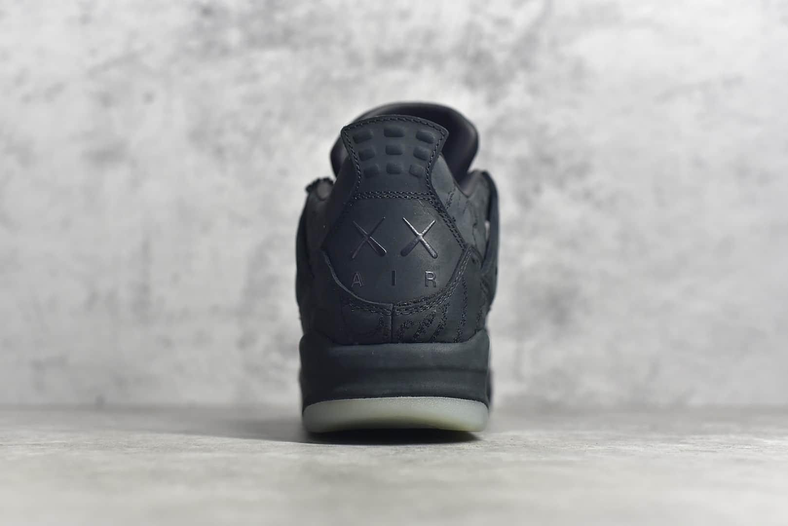 AJ4 Kaws联名黑色麂皮高帮 AJ1限量版天价鞋 Air Jordan 4 Kaws Black黑色AJ复刻 货号:930155-001-潮流者之家