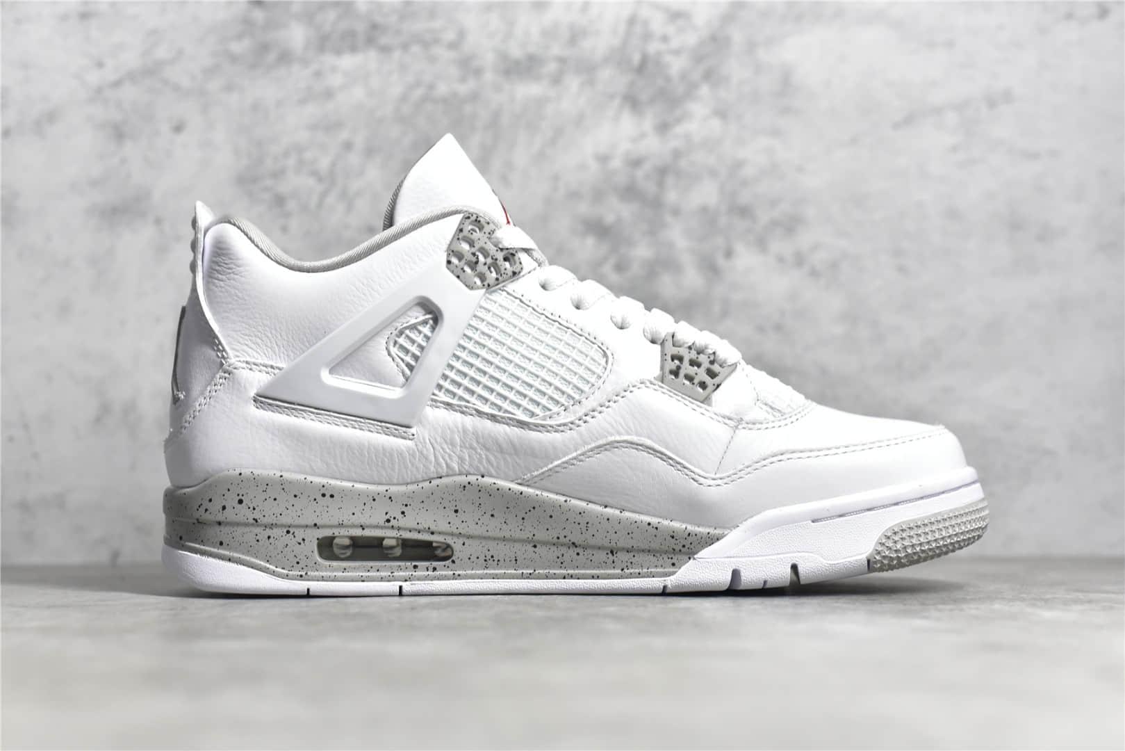 """AJ4白色奥利奥 Air Jordan 4 """"White Oreo"""" 原厂正确AJ进口皮料 AJ头层皮 货号:CT8527-100-潮流者之家"""