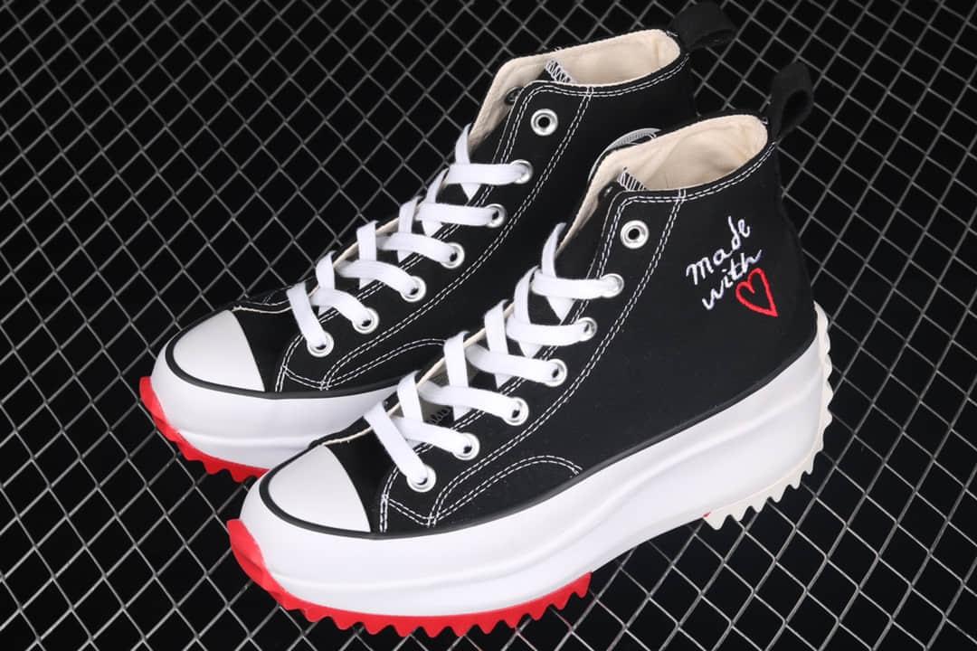 匡威松糕锯齿运动帆布鞋 Converse Run Star Hike1970s 匡威运动鞋 匡威1970S黑色高帮 货号:171120C-潮流者之家