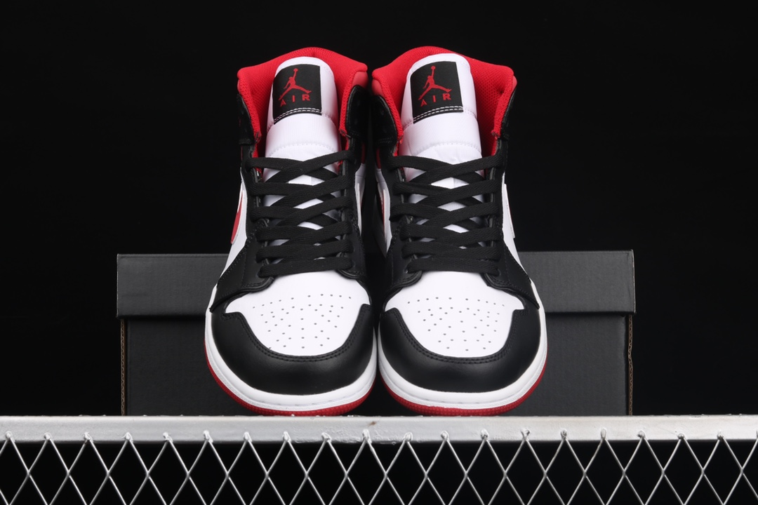 AJ1黑白红中帮YH纯原版本 Air Jordan 1 Mid SE 乔1白红 货号:554724-122-潮流者之家