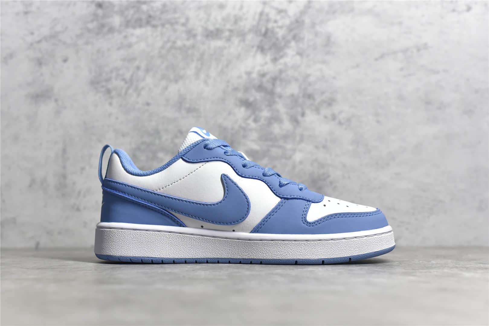 耐克Court白蓝低帮板鞋 Nike Court Borough Low 2 耐克类似AJ1的板鞋白蓝低帮 货号:CW1624 100-潮流者之家
