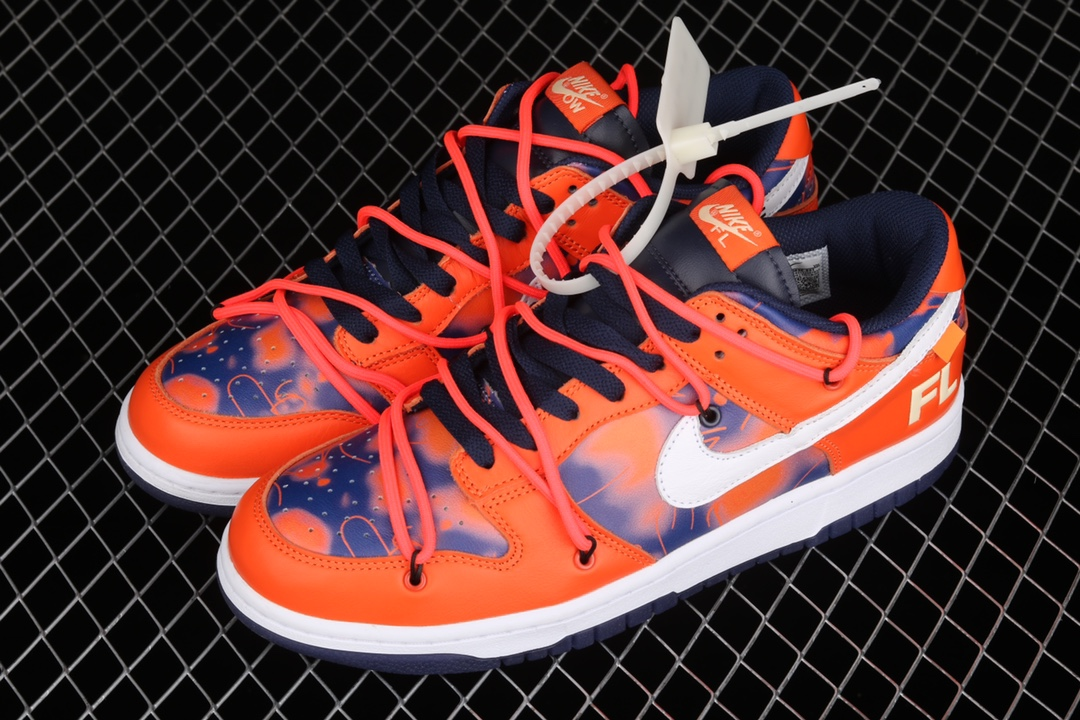 耐克Dunk OW联名蓝橙低帮 Off white x Future x Nike Dunk Low 耐克高端复刻 耐克联名款蓝橙涂鸦低帮 货号:DD0856-801-潮流者之家