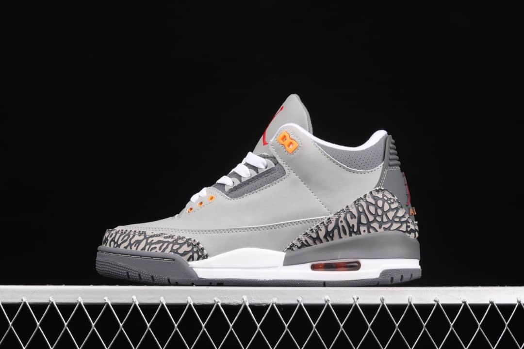 """AJ3灰狼纯原版本 Air Jordan 3""""Cool Grey"""" AJ3荔枝皮 AJ3灰色高帮篮球鞋 货号:CT8532-012-潮流者之家"""