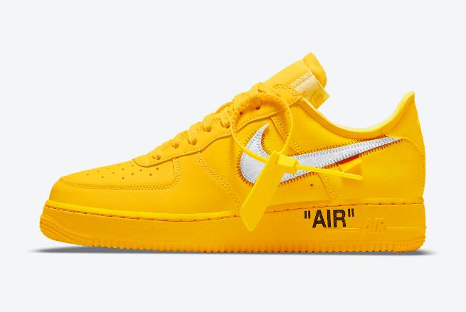 """耐克空军一号OW联名 OFF-WHITE x Nike Air Force 1 Low """"University Gold"""" 耐克空军黄色低帮联名款 货号:DD1876-700-潮流者之家"""