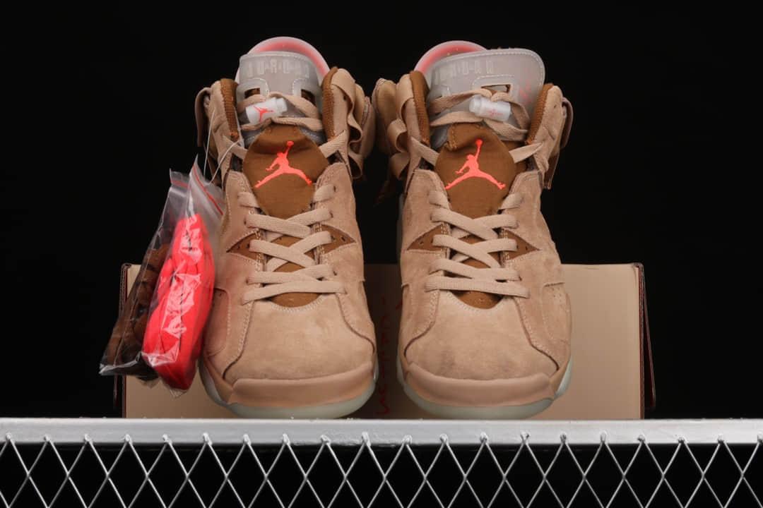 "AJ6斯科特联名 Travis Scott x Air Jordan 6""British Khaki"" 纯原版本AJ6棕色麂皮 AJ6 x TS 货号:DH0690-200-潮流者之家"
