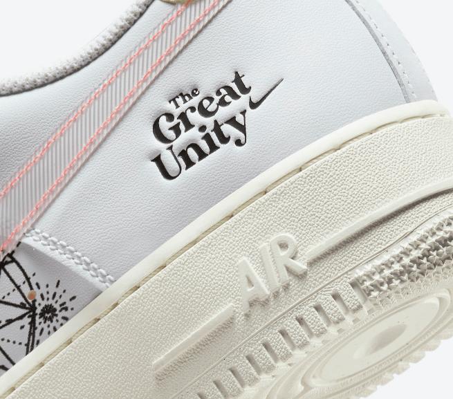 """耐克空军淬火金属鞋带扣 Nike Air Force 1 Low """"The Great Unity"""" 耐克空军抽象画点缀全新配色 货号:DM5447-111-潮流者之家"""