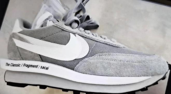 耐克Sacai闪电三方联名实物图 fragment x sacai x Nike LDWaffle 耐克Sacai联名白灰色 货号:DH2684-001-潮流者之家