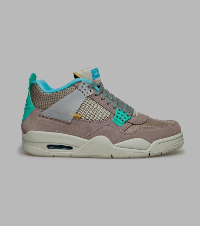 """全新AJ4 Union联名款两个新配色即将发售 Union x Air Jordan 4 """"Desert Moss"""" AJ4洛杉矶知名球鞋店铺联名 货号:DJ5718-300-潮流者之家"""