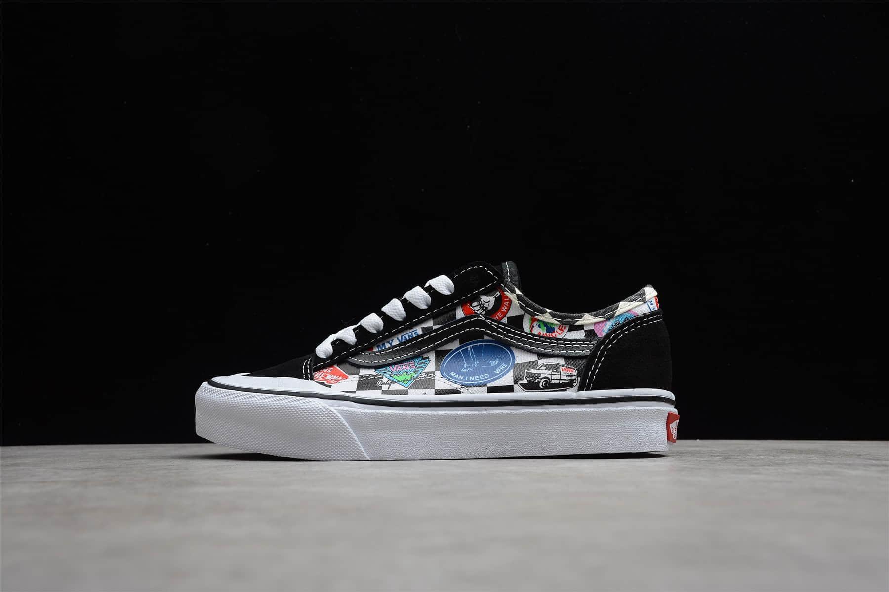 万斯黑色低帮涂鸦帆布鞋 VANS Style 36 SF 万斯彩色LOGO印花 货号:VN0A3MVL3P0-潮流者之家