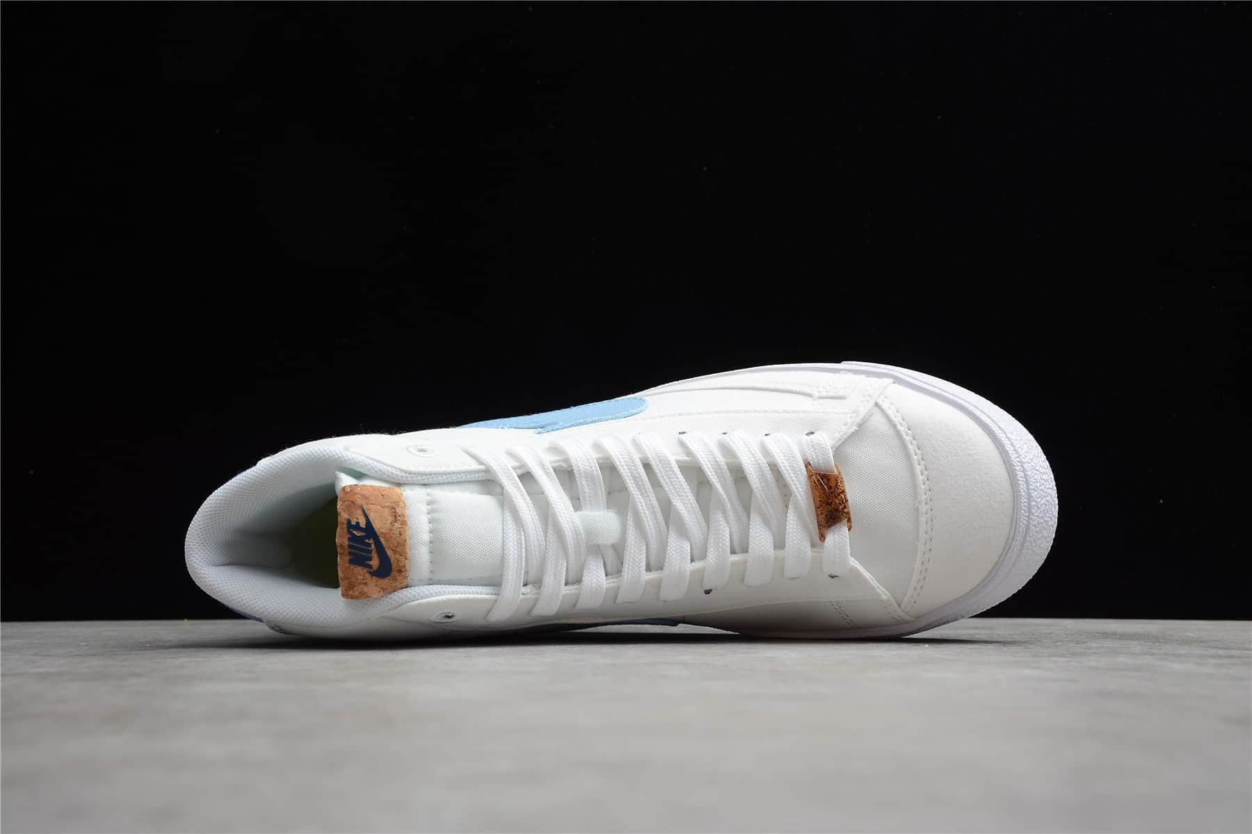"""耐克开拓者高帮帆布花卉刺绣 Nike Blazer Mid '77 """"Indigo"""" 耐克开拓者白蓝高帮帆布鞋 货号:DC9265-100-潮流者之家"""