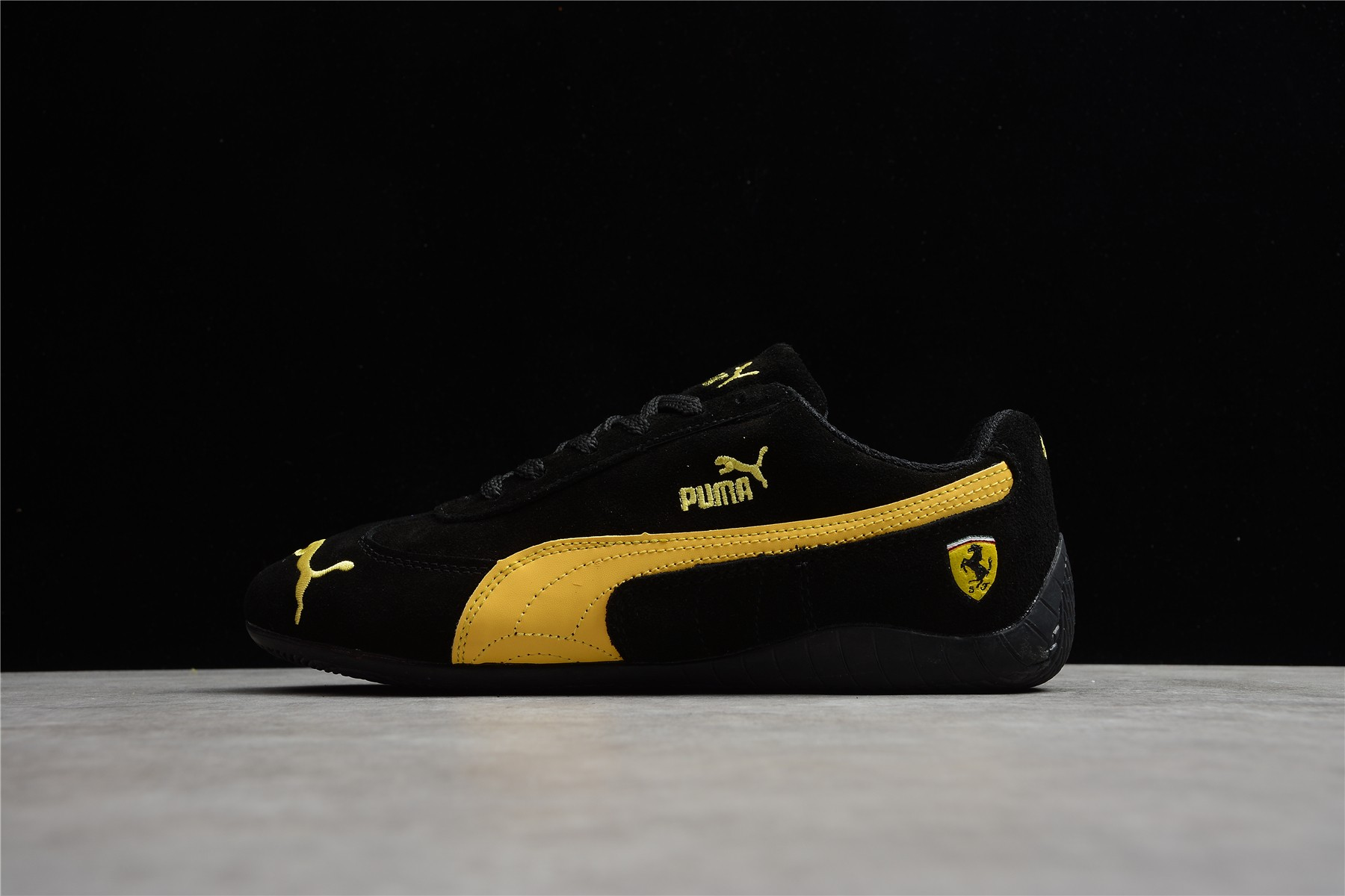 彪马法拉利联名款赛车休闲鞋 Puma Future Cat Leather Sf 彪马法拉利黑黄配色 货号:300833-02-潮流者之家