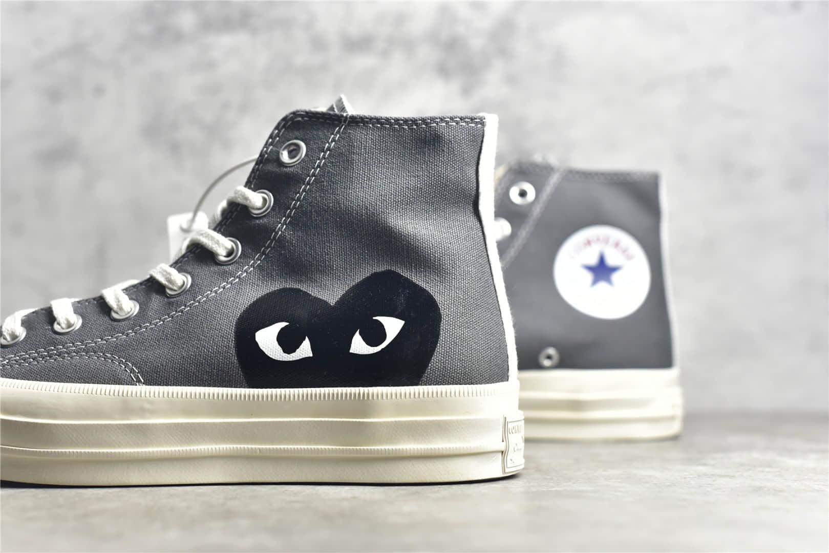 匡威川久保玲灰色高帮 Converse x Cdg Comme des Garçons Play 匡威1970S灰色高帮帆布鞋联名款-潮流者之家