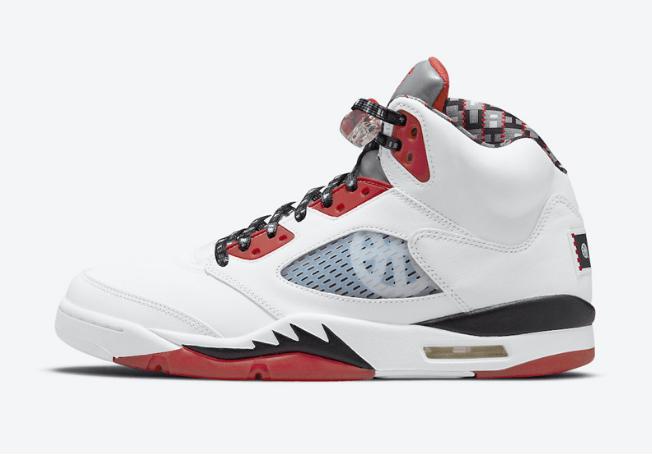 "AJ5 Quai 54""全新配色曝光实物图 Air Jordan 5 ""Quai 54"" AJ5白红黑实战球鞋 货号:DJ7903-106-潮流者之家"