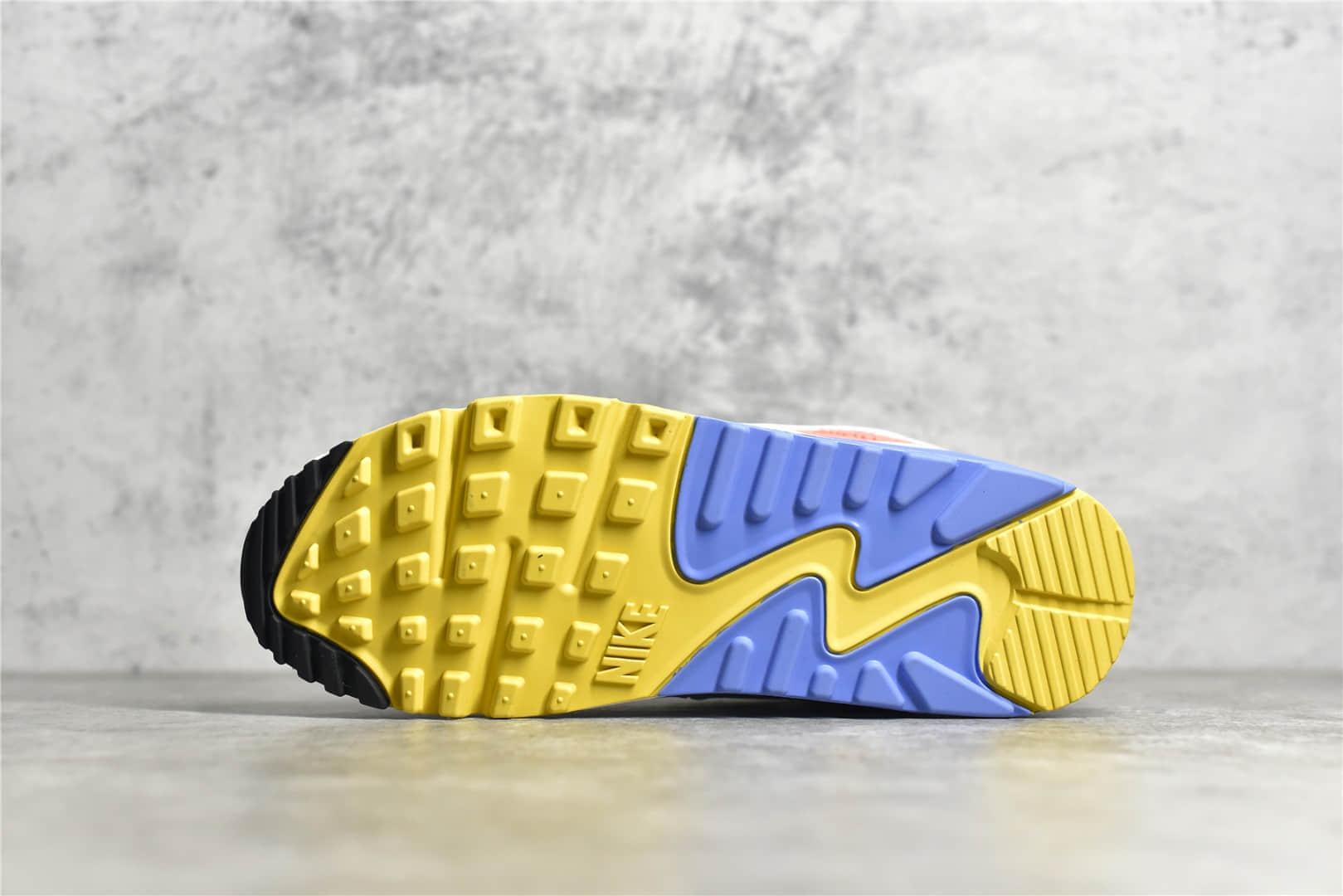 耐克MAX90白黄蓝复古跑鞋 Nike Air Max 90 耐克老爹鞋 耐克经典MAX90气垫跑鞋原厂品质 货号:CZ3950-100-潮流者之家