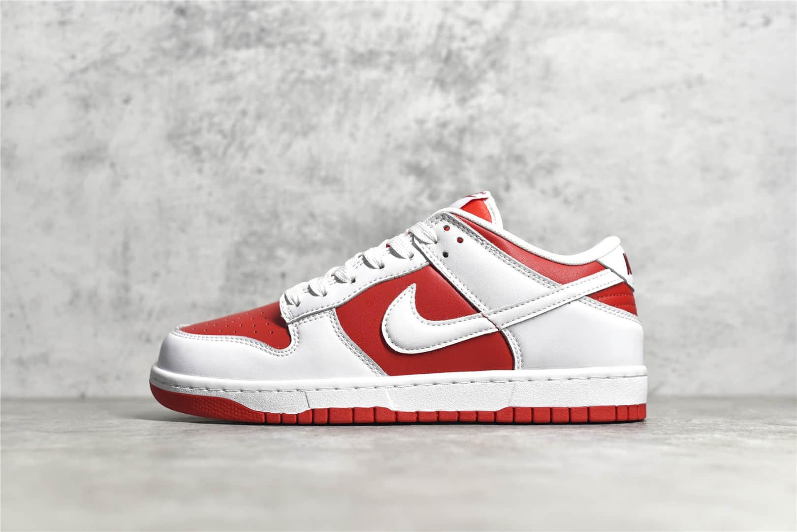"""耐克Dunk大学红莆田纯原版本 Nike Dunk Low """"University Red"""" 耐克白红低帮板鞋 货号:DD1391-600-潮流者之家"""