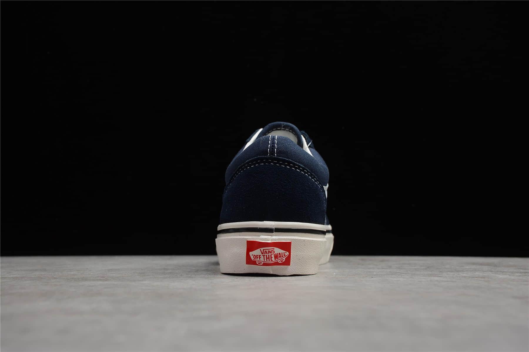 万斯蓝色低帮帆布鞋 VANS Old Skool Dx 莆田真标硫化万斯真标夜蓝色 万斯滑板鞋 货号:VN0A38G19XF2PXC-潮流者之家
