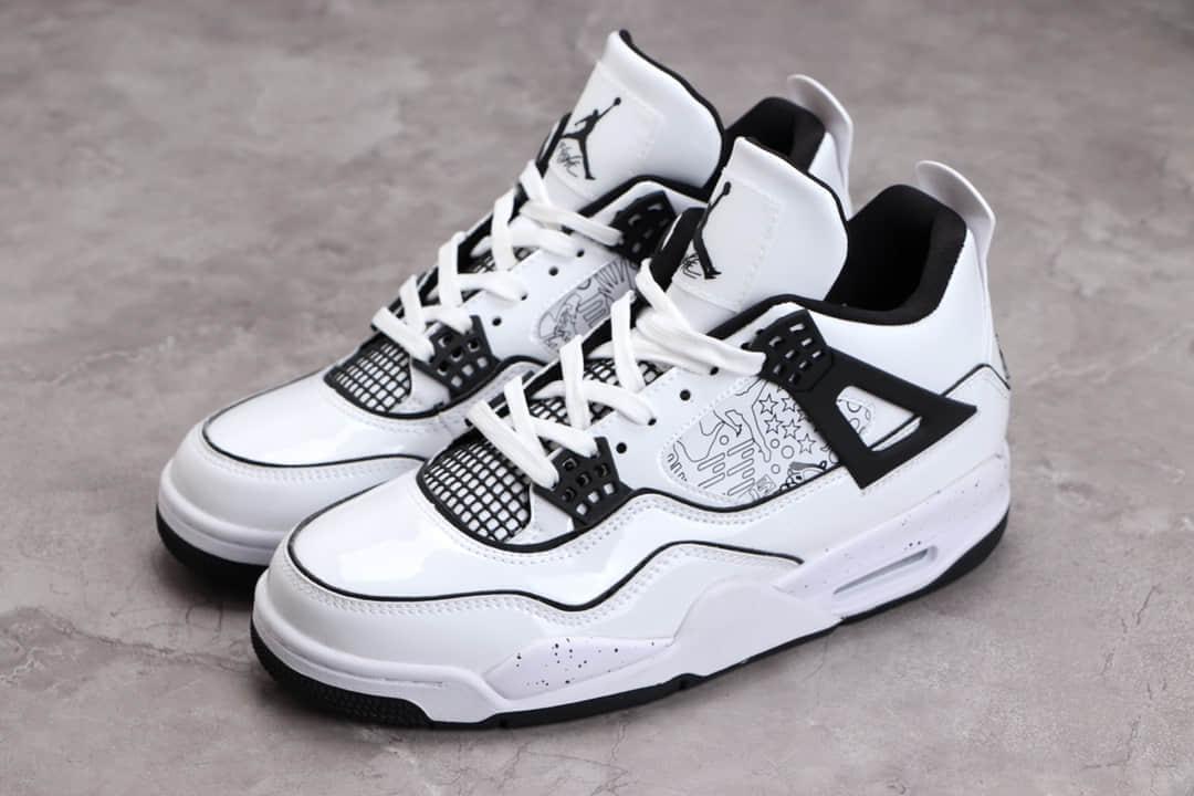 "AJ4黑白手绘涂鸦实战球鞋 Air Jordan 4 ""DIY"" 莆田H12纯原版本复刻 货号:DC4101-100-潮流者之家"