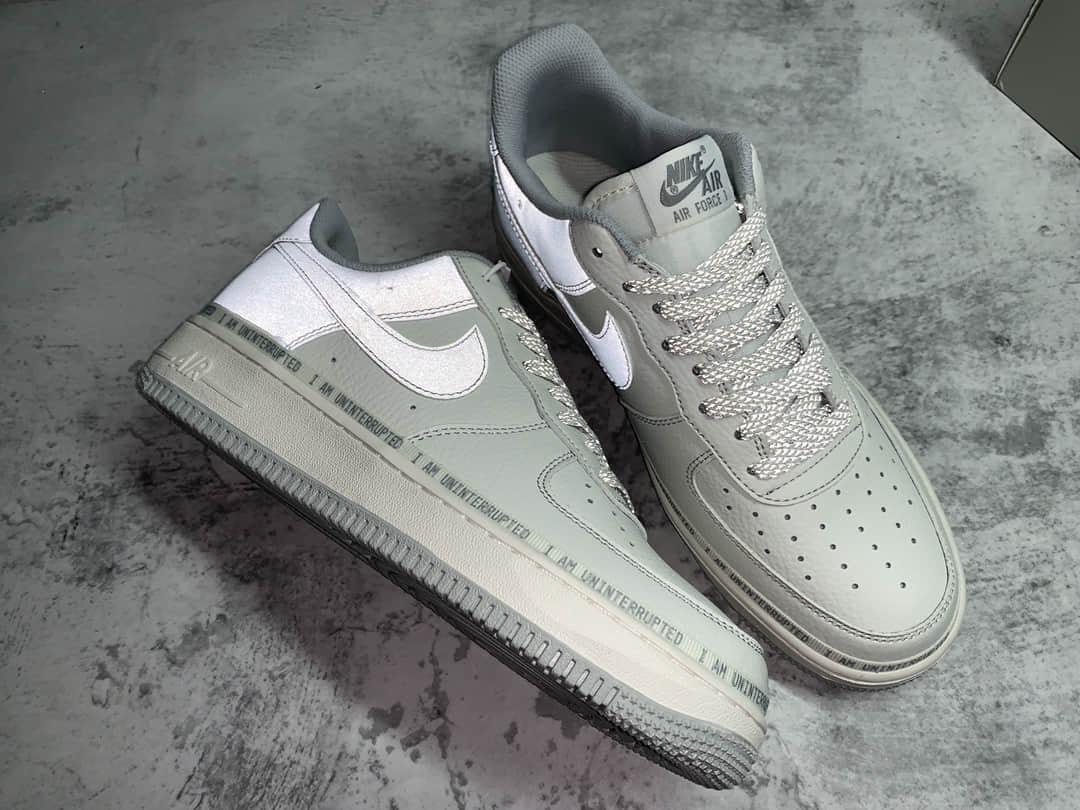 耐克空军一号手绘涂鸦米灰银低帮 Nike Air Force 1 耐克空军CJ纯原 耐克空军3M反光 货号:DW8802-603-潮流者之家